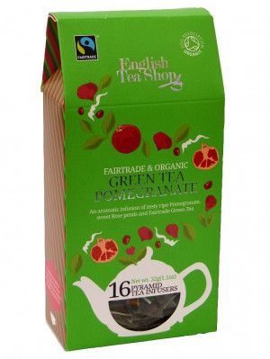 English Tea Shop BIO čaj 16 pyramidek GREEN TEA POMEGRANATE