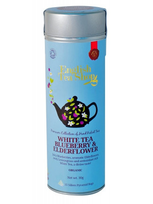 English Tea Shop 15 pyramidek WHITE TEA BLUEBERRY & ELDERFLOWER 30 g
