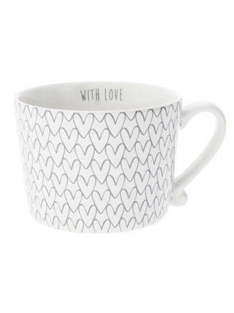 detail Bastion Collections Hrnek White HEART pattern in grey 300 ml (RJ/CUP 015 GR)
