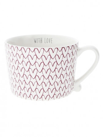 detail Bastion Collections Hrnek White HEART pattern in red 300 ml (RJ/CUP 015 RED)