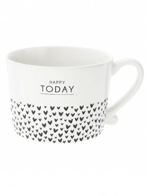Bastion Collections Hrnek HAPPY TODAY&hearts in black 300ml (RJ/CUP 037 BL)