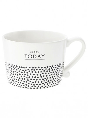 Bastion Collections Hrnek HAPPY TODAY&dots in black 300ml (RJ/CUP 023 BL)