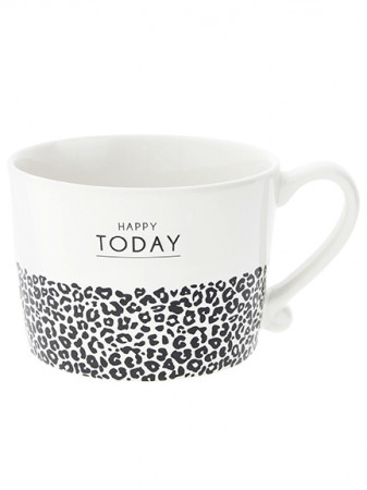 detail Bastion Collections Hrnek HAPPY TODAY&leopard in black 300ml (RJ/CUP 024 BL)