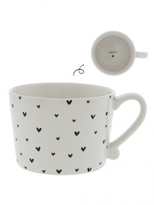 Bastion Collections Hrnek LITTLE HEARTS in black, 300 ml (RJ/CUP 040 BL)