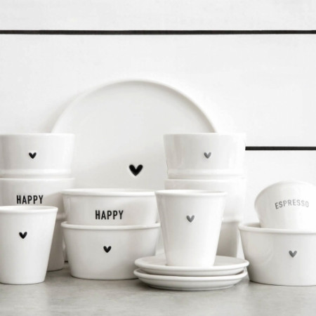 detail Bastion Collections Miska Paperlook HAPPY in black 9x5cm (RJ/BOWL 502 BL)