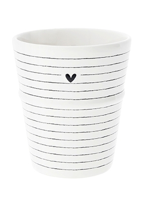 Bastion Collections Kelímek STRIPES&HEART in black 6x8x9cm (RJ/MUG 504 BL)