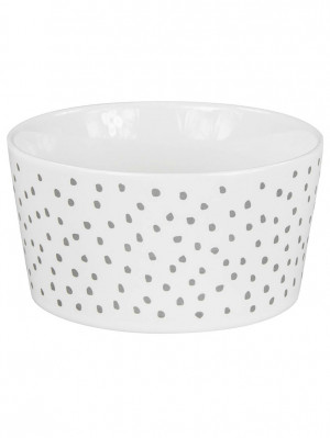 Bastion Collections Miska DOTS in grey 13,5x7cm, 550ml (RJ/BO WH/DOTS GR)
