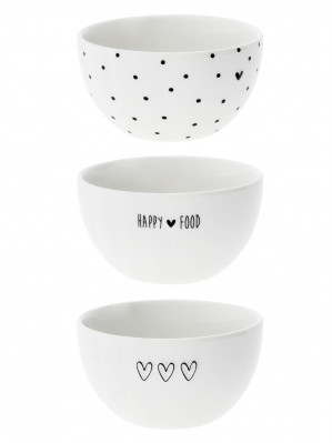 Bastion Collections 3x miska HAPPY FOOD-HEART-DOTS in black 9,5x5cm