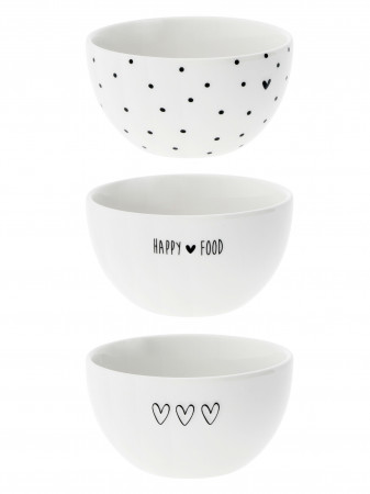 detail Bastion Collections 3x miska HAPPY FOOD-HEART-DOTS in black 9,5x5cm
