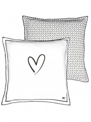 Bastion Collections Polštář HEART/HEARTS in black 50x50cm (AN-CUSHION-001-BL)