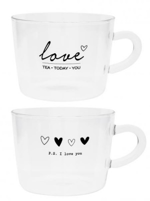Bastion Collections Skleněné hrnky LOVE HEARTS in black 2x 300 ml / 2 ks