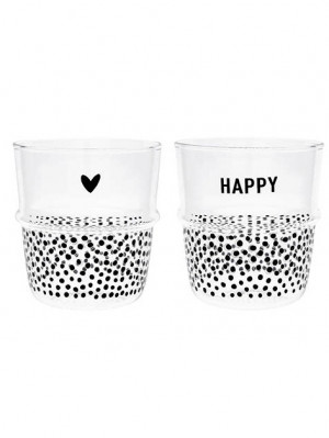 Bastion Collections SKLENICE NA VODU dots in black 8,5x9cm / 2ks