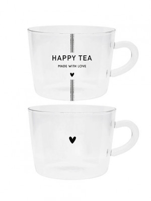 Bastion Collections 2x Skleněné hrnky HAPPY TEA, 2x 300ml