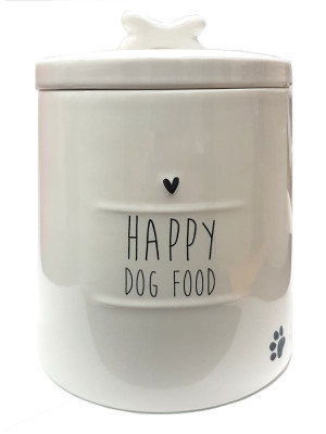 Bastion Collections DÓZA velká HAPPY DOG FOOD in black 14x18cm