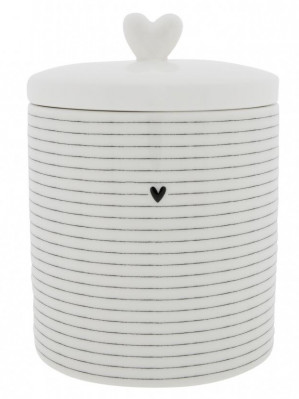 Bastion Collections DOZA velká STRIPES small HEART in black, 14x14x16,5cm
