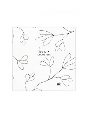 Bastion Collections Papírové ubrousky LOVE GROWS HERE, 12,5x12,5cm